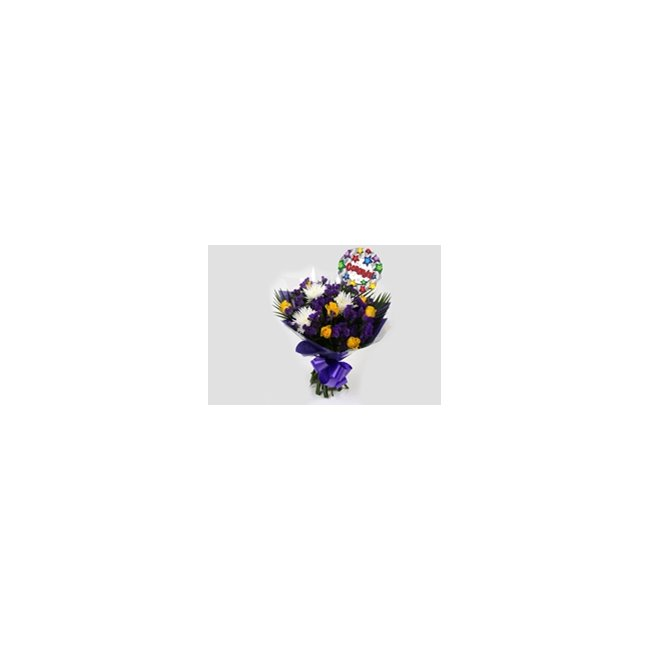 additional image for Congrats Balloon & Purple Moon Bouquet