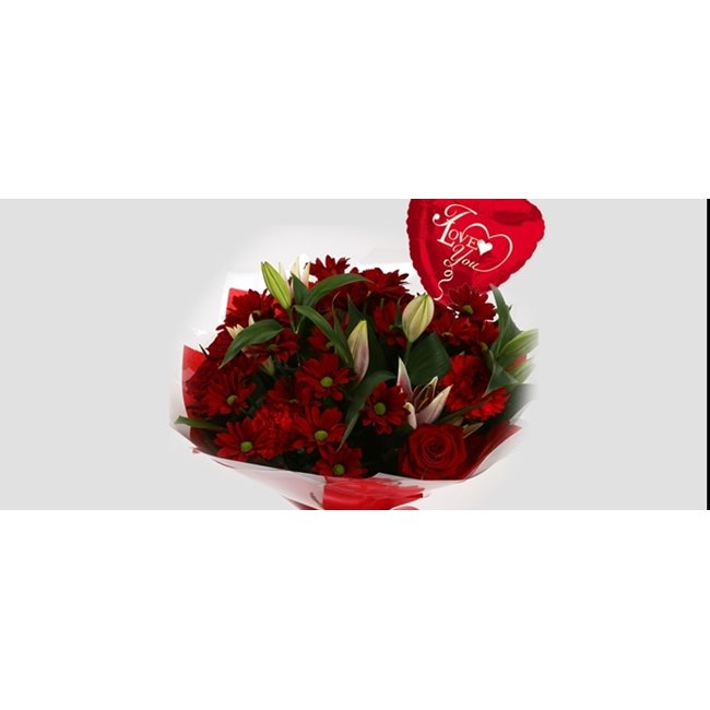 additional image for Love You Balloon & Red Roses Lilly Bouquet