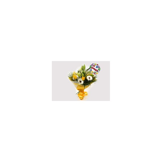 additional image for Congrats Balloon & Lemon White Bouquet