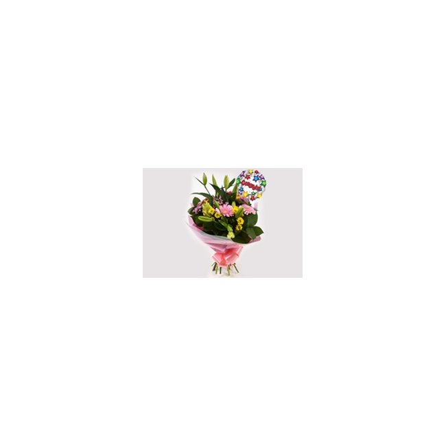 additional image for Congrats Balloon & Florist Meadow Bouquet