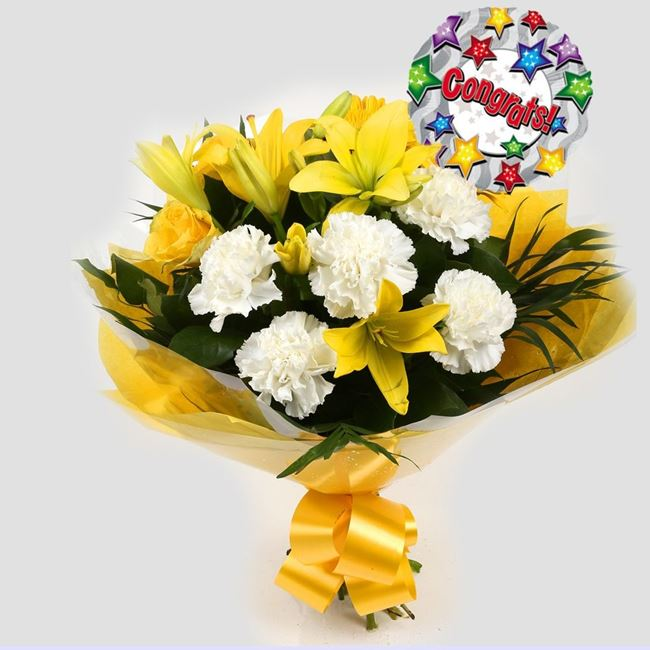 Congrats Balloon & Golden Sunshine Bouquet-Clear Savings-Clear Prices