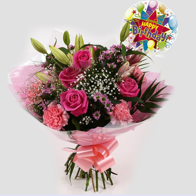 additional image for Birthday Balloon & Pink Crystal Bouquet