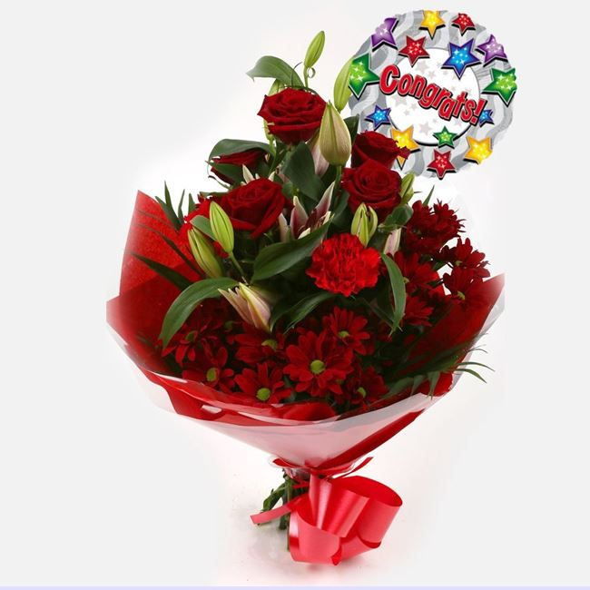 Congrats Balloon & Red Roses Lilly Bouquet
