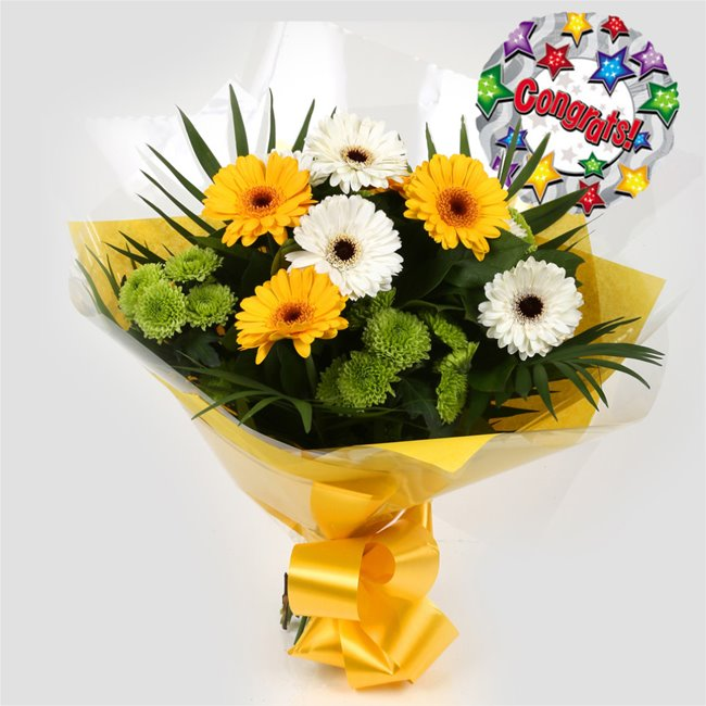 additional image for Congrats Balloon & Yellow Cream Bouquet