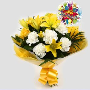 Birthday Balloon & Golden Sunshine Bouquet