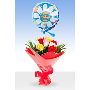 Beautiful Mixed Roses,Get Well Balloon & Bouquet