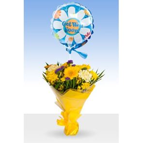 Yellow Gold, Get Well Balloon & Bouquet
