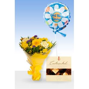 Yellow Gold, & Get Well Balloon & Chocolates
