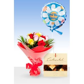 Beautiful Roses Get Well Balloon & Chocs