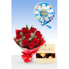 Classic 12 Red Roses Get Well Balloon & Chocs