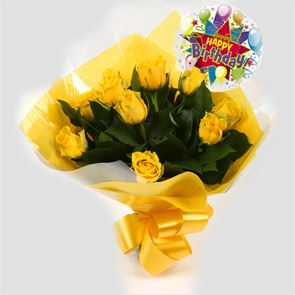 Birthday Balloon & 12 Yellow Roses Bouquet