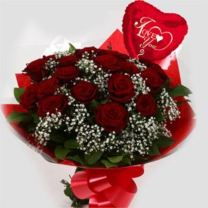 24 Red Roses - Love Balloon & Bouquet