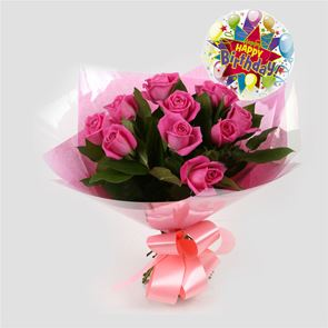 Birthday Balloon & 12 Pink Roses Bouquet