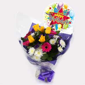 Happy Birthday Balloon & Starburst Bouquet