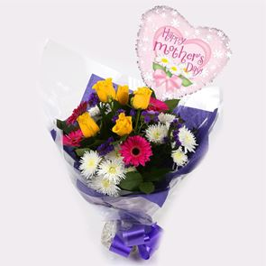 Mothers Day Balloon & Star Burst Bouquet -Clear Savings-Clear Prices