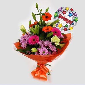 Congrats Balloon & Colour Burst Bouquet
