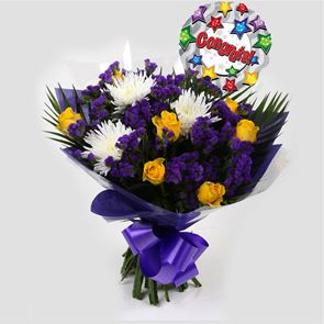 Congrats Balloon & Purple Moon Bouquet