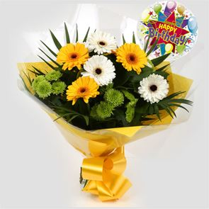 Birthday Balloon & Yellow Cream Bouquet